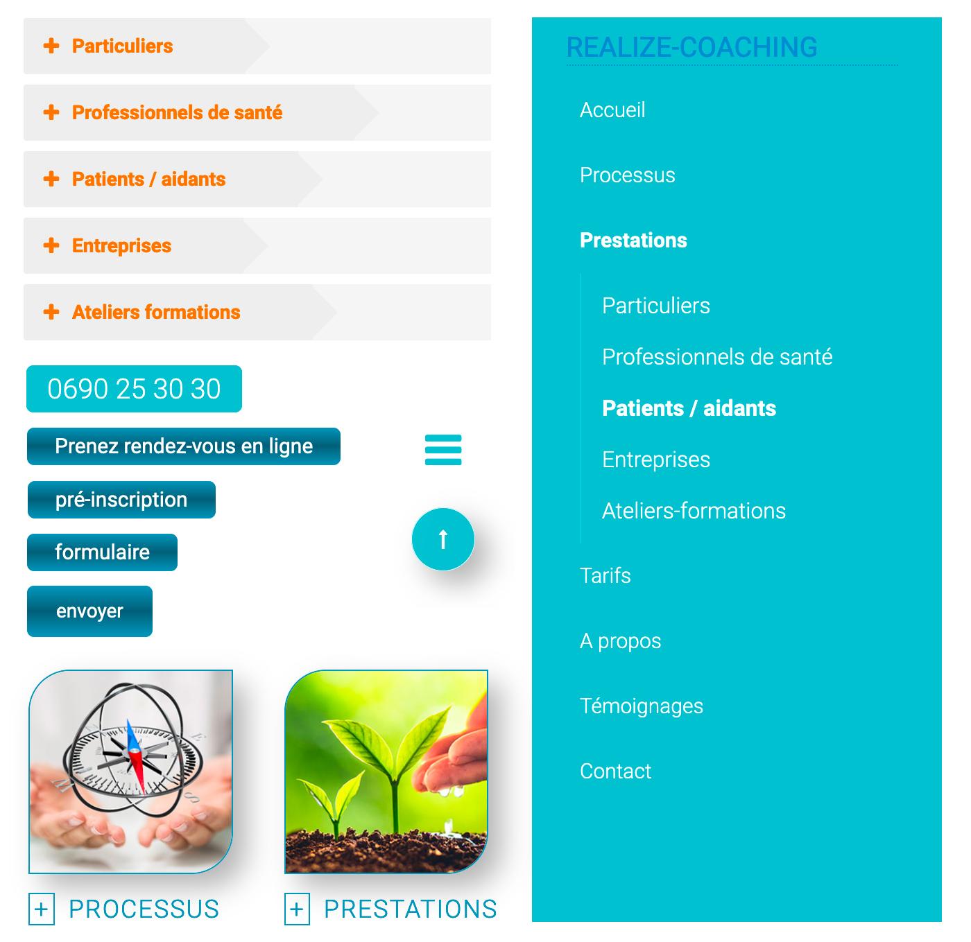 Navigation site web Realize Coaching