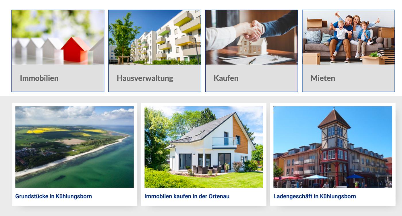 Page d'accueil site web Immobilien Ernst