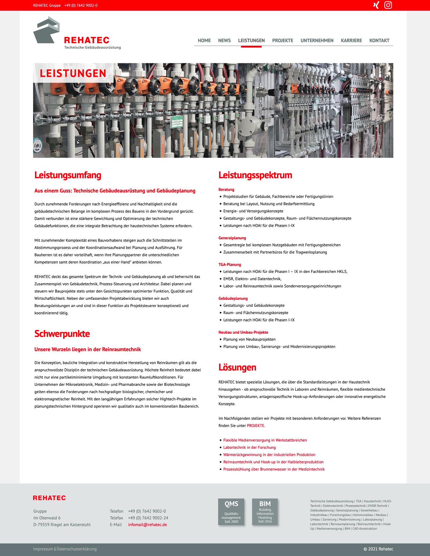 Page d'accueil Website Rehatec