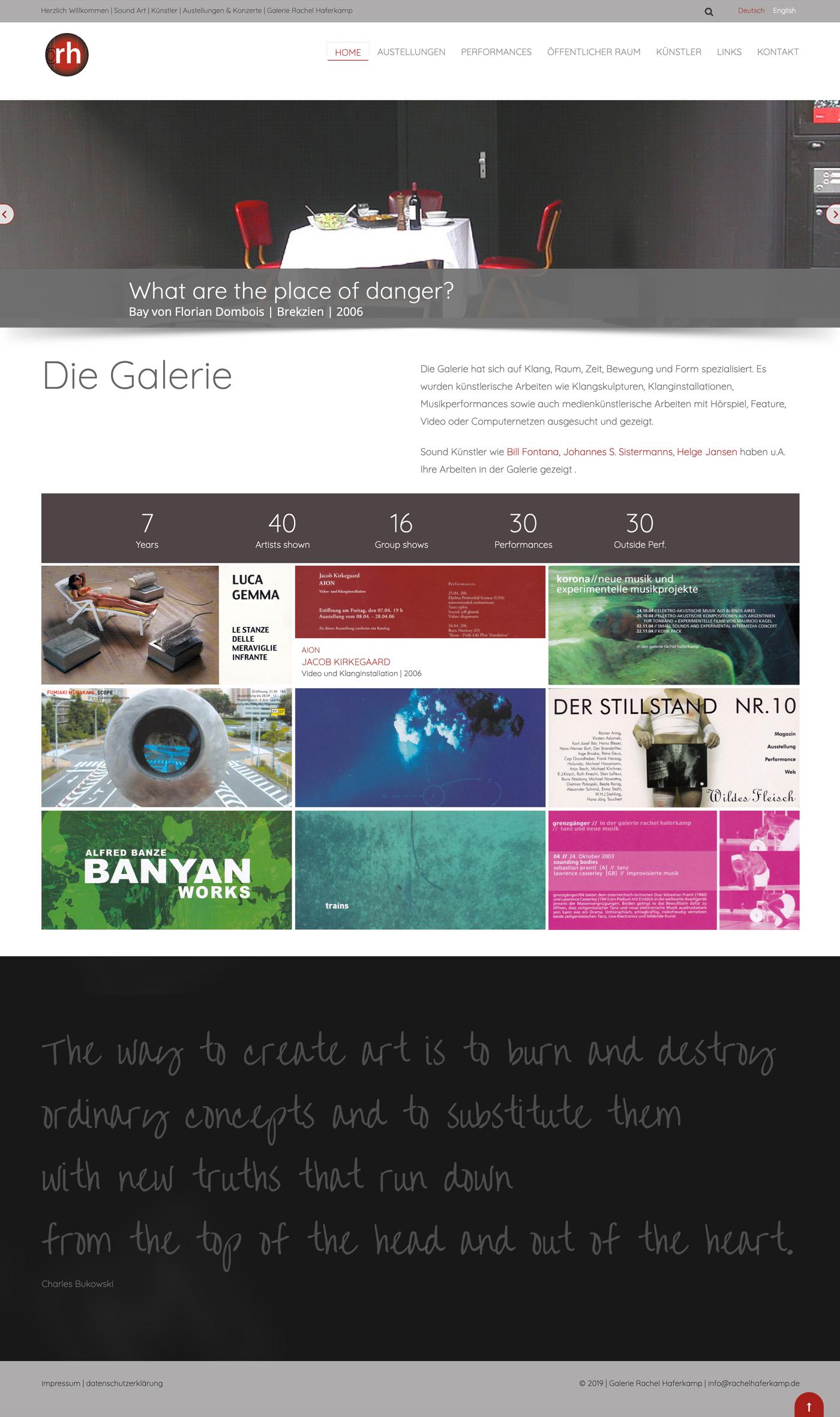Page d'accueil site web Galerie RH